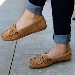 brown suede leather moccasins minnetonka